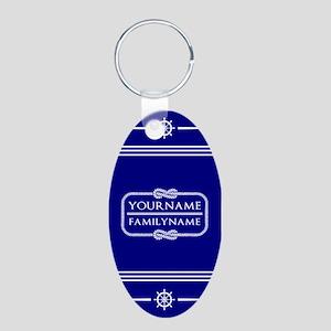 Navy Sailor Theme Personali Aluminum Oval Keychain
