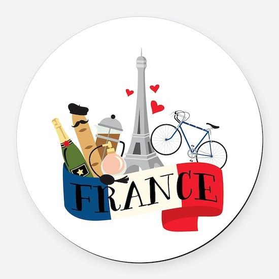 France Round Car Magnet
