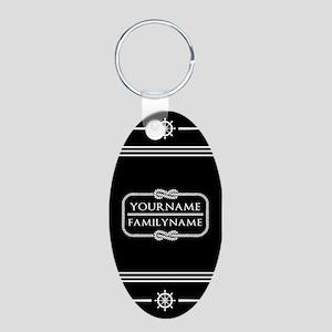 Black and White Nautical Ro Aluminum Oval Keychain