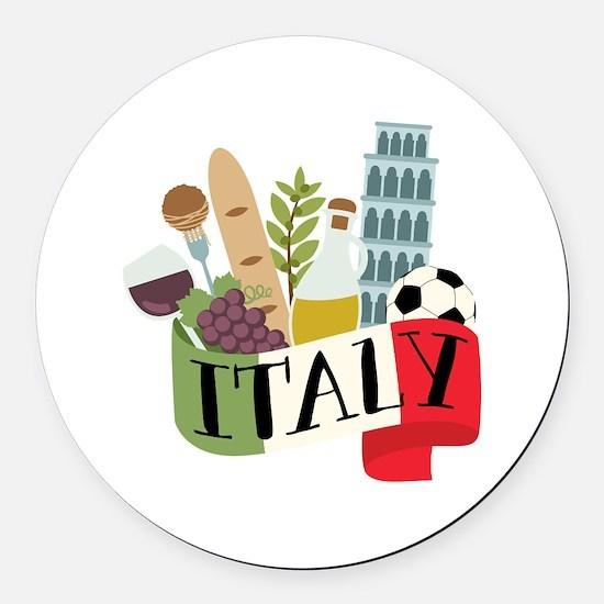 Italy 1 Round Car Magnet