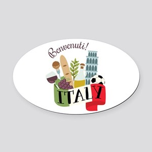 Benvenuti! Italy Oval Car Magnet