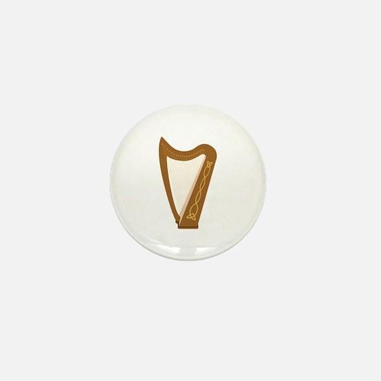 Celtic Harp Mini Button
