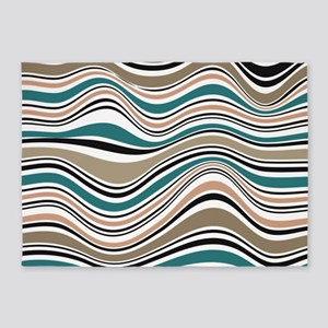 Abstract Waves in Southwest Blue 5'x7'Area Rug