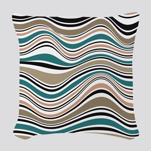 Abstract Waves in Southwest Bl Woven Throw Pillow