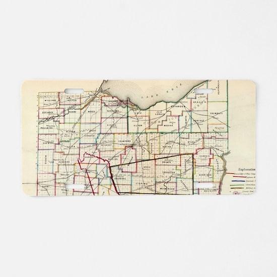 Vintage Map of Ohio (1866) Aluminum License Plate