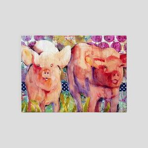 Pink Pigs ~ Little Piggies 5'x7'Area Rug