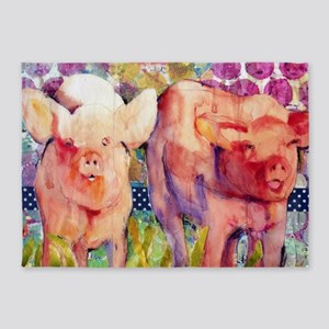 Pink Pigs ~ Little Piggies 5'x7'Area Rug