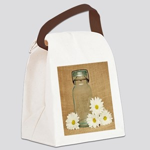 Vintage Mason Jar White Daisies Canvas Lunch Bag