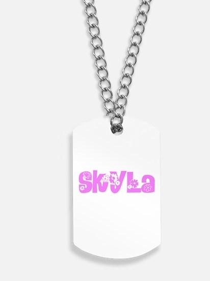 Skyla Flower Design Dog Tags