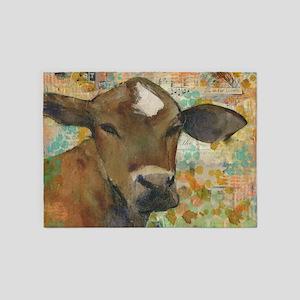 Baleful Eyes Cow 5'x7'Area Rug