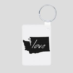Love Washington Aluminum Photo Keychain
