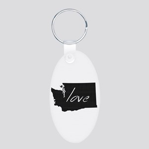 Love Washington Aluminum Oval Keychain