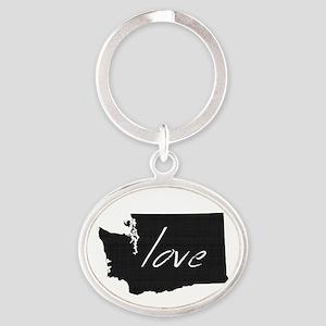 Love Washington Oval Keychain