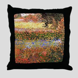 Flowering Garden by Vincent van Gogh Throw Pillow