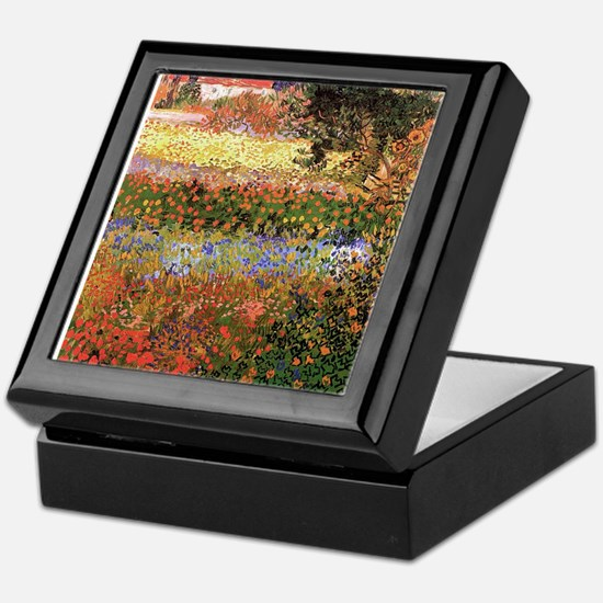 Flowering Garden by Vincent van Gogh Keepsake Box