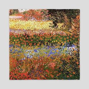 Flowering Garden by Vincent van Gogh Queen Duvet