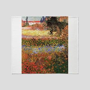 Flowering Garden by Vincent van Gogh Throw Blanket