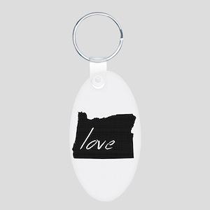 Love Oregon Aluminum Oval Keychain