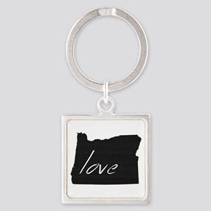Love Oregon Square Keychain