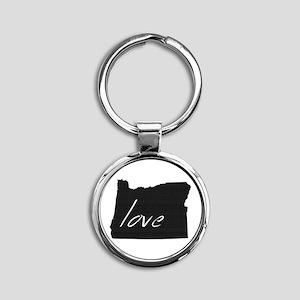 Love Oregon Round Keychain