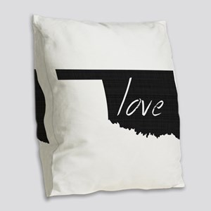 Love Oklahoma Burlap Throw Pillow