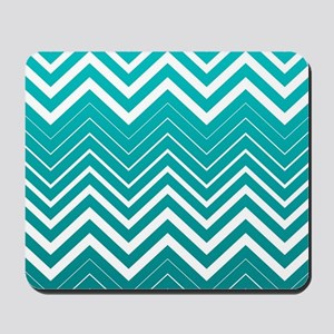 White Zigzag Chevron And Blue Green Background Mou