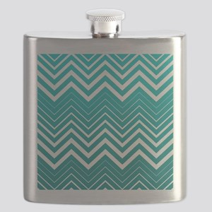 White Zigzag Chevron And Blue Green Background Fla