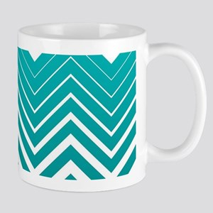 White Zigzag Chevron And Blue Green Background Mug