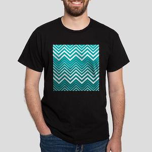 White Zigzag Chevron And Blue Green Background T-S