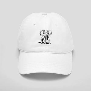 Cute Black Elephant Line Drawing Cap