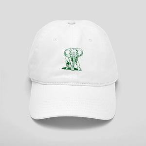 Cute Hunter Green Elephant Line Drawing Cap