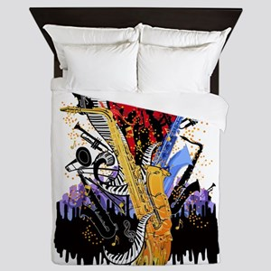 Musical Instruments Sax Piano City Mus Queen Duvet