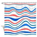 Abstract Waves Red White And Blue Shower Curtain