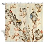 Vintage Cute Kittens Pussy Willow Shower Curtain