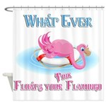 What Ever Floats Your Pink Flamingo Shower Curtain