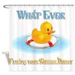 What Ever Floats Your Rubber Ducky Shower Curtain