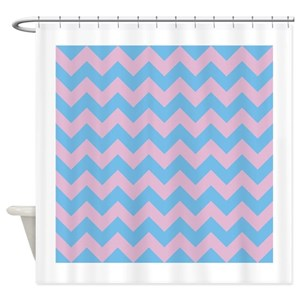 Chevron Blue Pink Shower Curtains