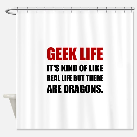 Geek Life Dragons Shower Curtain