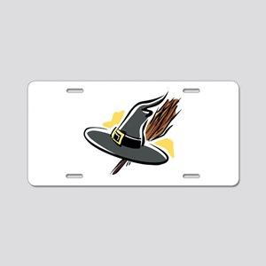 Brooms & Witches hat Aluminum License Plate