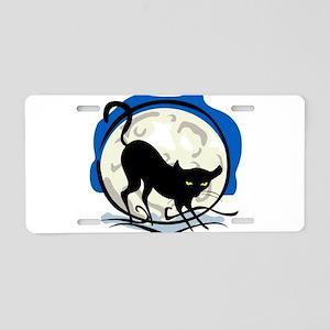 Black Cat Full Moon Aluminum License Plate