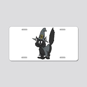 Black Witchy Cat Aluminum License Plate