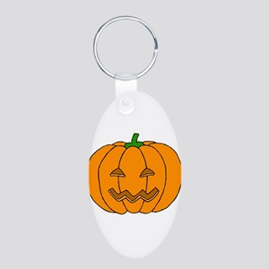 Jack O Lantern Aluminum Oval Keychain