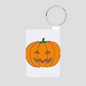Jack O Lantern Aluminum Photo Keychain