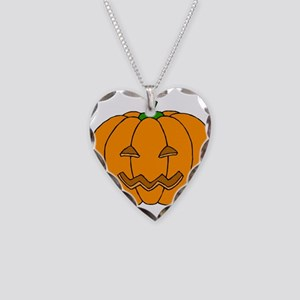 Jack O Lantern Necklace Heart Charm
