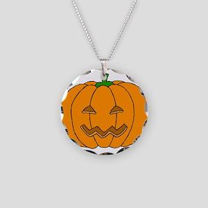 Jack O Lantern Necklace Circle Charm