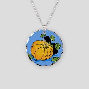 Samhain Pumpkin Necklace Circle Charm