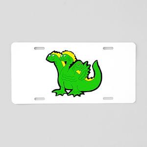 Green 3-Headed Monster Aluminum License Plate