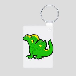 Green 3-Headed Monster Aluminum Photo Keychain