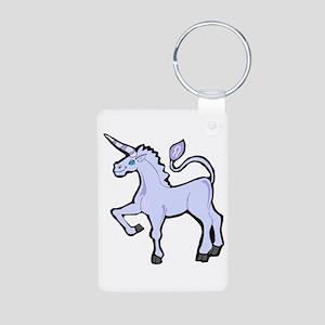 Blue Unicorn Aluminum Photo Keychain
