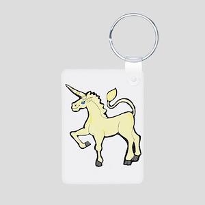 Yellow Unicorn Aluminum Photo Keychain